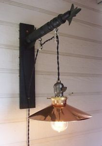 Vintage Industrial Hanging Pendant Lamp Light with Pulleys Copper Shade