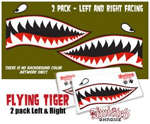 WWII Airplane Flying Tigers Decal Sticker P 40 Curtis Warhawk Art 2 Pack L R