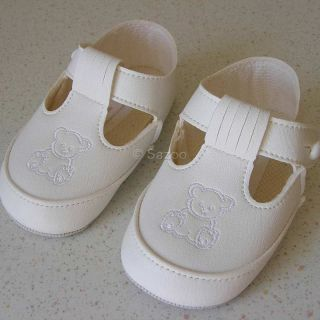 Baby Boys Off White Teddy Christening Baptism Special Occasion Booties Shoes K43