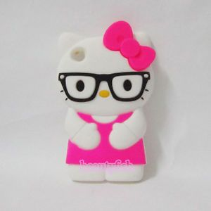3D Hello Kitty Glasses Silicone Case Cover for iPod Touch 4 4th Gen Yjkt T4 Hot