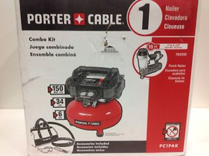 Porter Cable 6Gal Portable Electric Air Compressor/Finish Nailer Combo Pack New