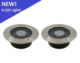 2 Pack Solar 4 White LED Round Recessed Deck Dock Patio Light