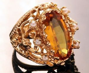 Antique 1900's Art Nouveau 14k Gold 4 03 CTW Honey Citrine Seed Pearl Ring