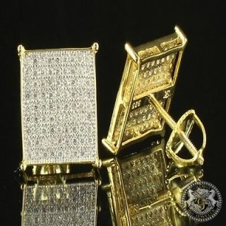 Mens Block Square Flat Screen 14k Gold Yellow Silver 925 Earring Studs Screw On