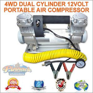 Dual Cylinder 12 Volt Portable Twin Heavy Duty Air Compressor 4x4 4WD 12V