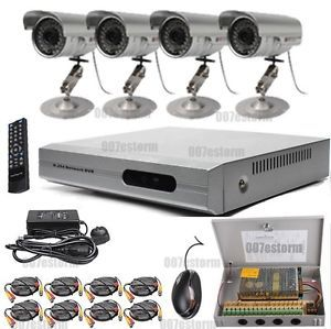 4 Channel CCTV DVR Security System VGA NTSC PAL Motion Detection 4 Color Cameras