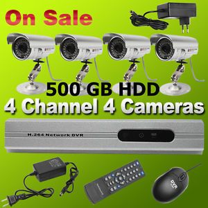 4 CH Security System 4 IR Weatherproof HD Cameras DVR Motion Detection