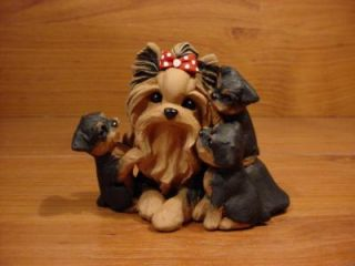Original Yorkshire Terrier Dog Kisses Sculpture Claydogz Mandyo OOAK