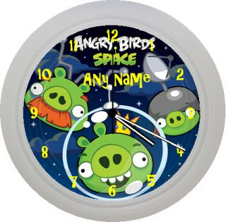 ☆•★ Personalised Personalized Angry Birds Space Wall Clock Gift Any Name ☆•★