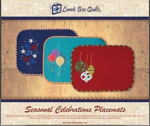 Seasonal Celebrations Placemats CD Lunch Box Quilts Applique Machine Embroidery