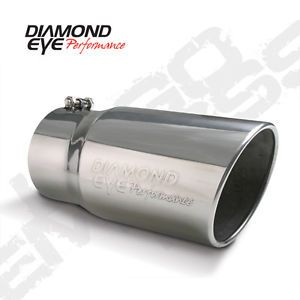 "Diamond Eye Exhaust Tip 5"" Inlet 6"" Outlet Steel Logo Embossed 12"" Long Bolt On"