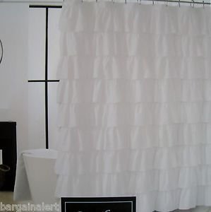 Shabby Chic White Ruffle Shower Curtain Cottage Chic White Ruffled Shower