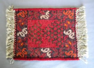 2 Vtg Hand Woven Wool Small Fringed Rugs Mats Unknown