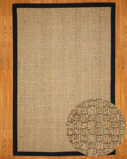 Lancaster 8'x10' Black 100 All Natural Seagrass Area Rug Carpet New