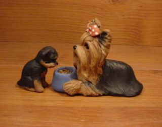 Original Yorkie Yorkshire Terrier Food Puppy Dog Sculpture Claydogz Mandyo OOAK