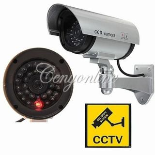 Home Outdoor Dummy Dome Fake Security Surveillance Camera Red LED Blinking Light