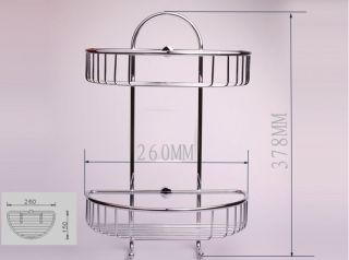 Dual Tier Chrome Wall Mounted Bath Shower Caddy Basket Cosmetic Storage w Hook