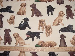 Puppy Labrador Retriever Dog Dogs Cotton Fabric BTY