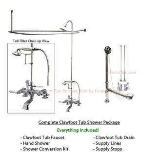Chrome Clawfoot Tub Faucet Shower Kit with Enclosure Curtain Rod 204T1CTS