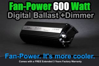 Fan Power 600W 600 Watt HPS MH Grow Light Digital Dimmable Indoor Garden System