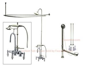 Chrome Clawfoot Tub Faucet Shower Kit with Enclosure Curtain Rod 18T1CTS