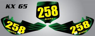 Custom Number Plate Graphics for KX 65
