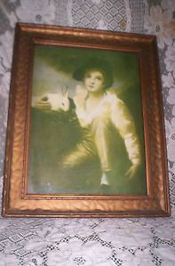 Antique Art Deco Old Wavy Glass Boy with Rabbit Photo Picture Frame