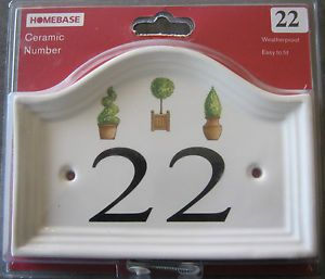 Ceramic Weatherproof Topiary House Door Number Plaque Sign Various Numbers