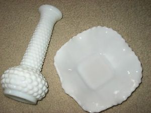 Vintage Fenton Milk Glass Hob Nail Bud Vase and Small Candy Dish Bowl Nice