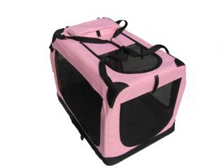"30"" Portable Pink Pet Dog House Soft Crate Carrier"