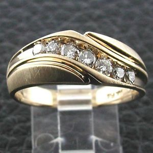 Estate Vintage Men's 14k Yellow Gold 7 Channel Set Diamond Wavy Design Band Ring