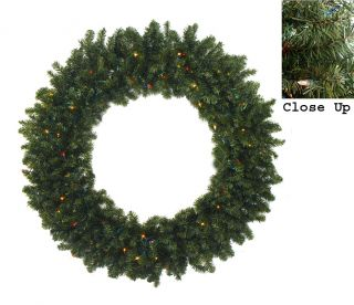 "48"" Pre Lit Canadian Pine Artificial Christmas Wreath Multi Lights"