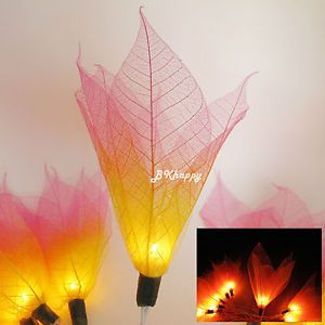 Cute Pink Yellow Real Leaf Handmade Wedding Christmas Decor Party String Lights