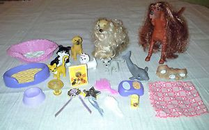 Barbie Fisher Price Doll House PETS Dogs CAT Kitten DOLPHIN Food BED Trophies