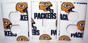Green Bay Packers 2 Light Switch and Outlet Cover Set NFL Football