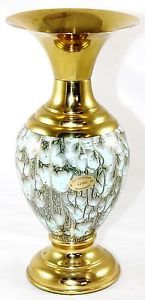 Delft Large Hand Painted Bud Vase Vtg Pearlescent Blue Turquoise Brass Holland