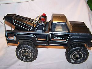 Vintage Tonka Pressed Steel Black Metalic Monster 4x4 Mr 970 Tow Truck Wrecker