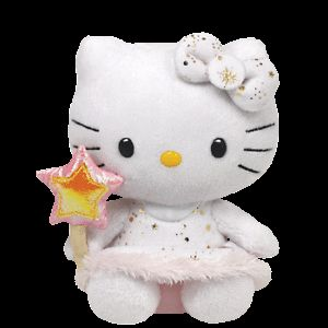 Ty White Hello Kitty Cat Angel Beanie Babies Stuffed Plush Toy