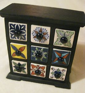 Vintage Ceramic Wood 9 Drawer Spice Rack Trinket Jewelry Box Chest