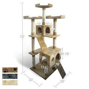 "73"" Cat Tree House Toy Bed Scratcher Post Furniture"