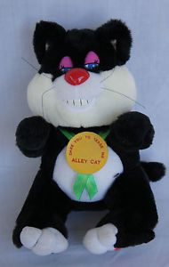 Play Zone Alley Cat Doll Toy Black White Meowing Vibrating Soft Stuffed Plush 9""