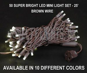 Novelty Lights 50 LED Mini Light Christmas Tree Patio String Set Brown Wire 25'
