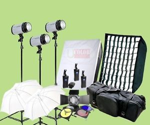 900W Studio Monolight Strobes Flash Lighting Kit Softbox w Grid Carry Case