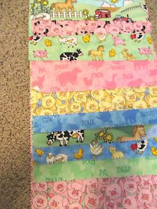 10 Quilt Pieces Farm Animals Fabric Pig Horse Cow Duck Sheep Chicken Tractor