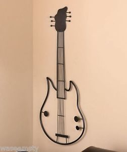 Large Metal Electric Guitar Music Instrument Accent Wall Hanging Decor Art