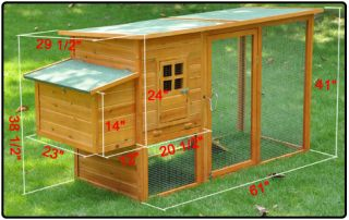 Waterproof Wood Chicken Coop Rabbit Hutch Nest Box Run Poultry Cage Hen House