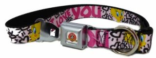 Tweety Bird I Love You Pink Seat Belt Buckle Dog Collars or Leash 4 Sizes