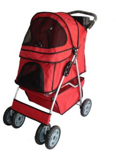 New Heavy Duty Red Pet Dog Cat Stroller Carrier