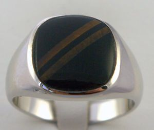 Black Onyx Mens Ring Tiger Eye Stripes 18K White Gold Overlay Size 8