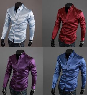 Mens Casual Silk Shirts Slim Fit Unique Design M XL
